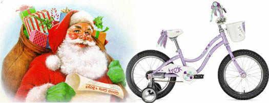 Дед мороз дарит детям велосипед