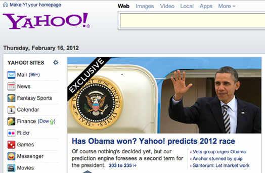 Yahoo страница