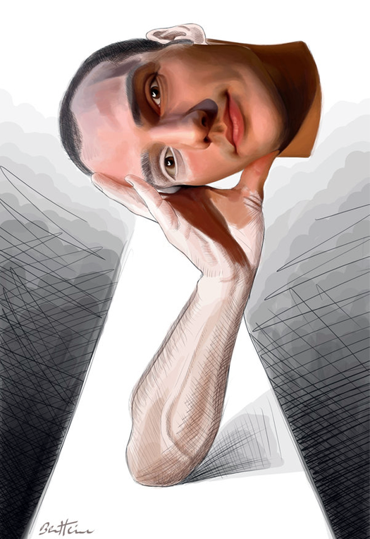 голова и рука - арт картина