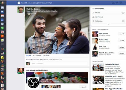 лента событий на facebook